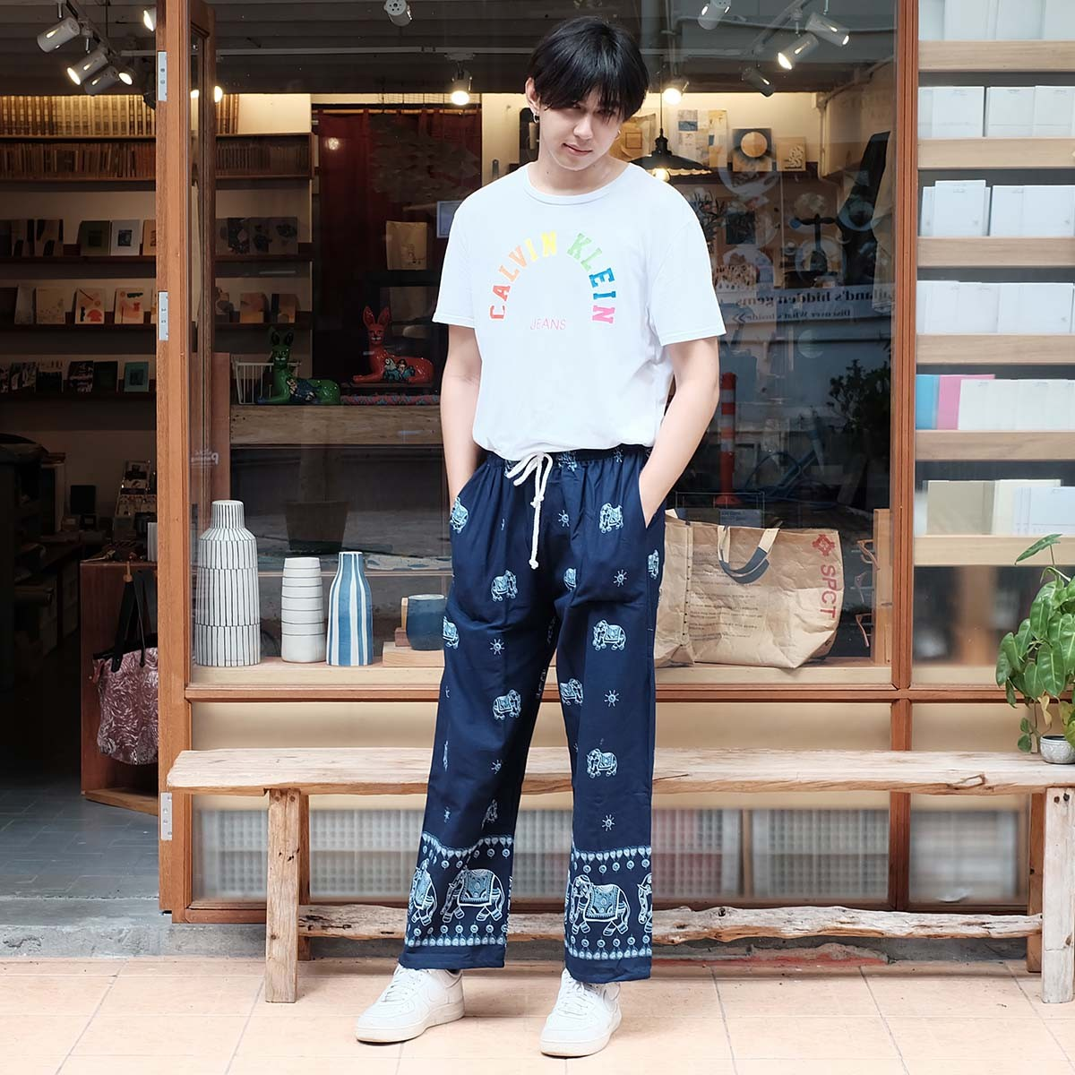กางเกงขายาวผู้ชาย กางเกงผ้าฝ้ายขายาวลายช้าง