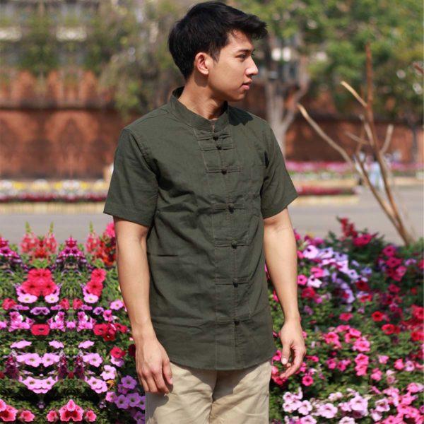 เสื้อผ้าฝ้ายผู้ชาย เสื้อแขนสั้นคอจีน