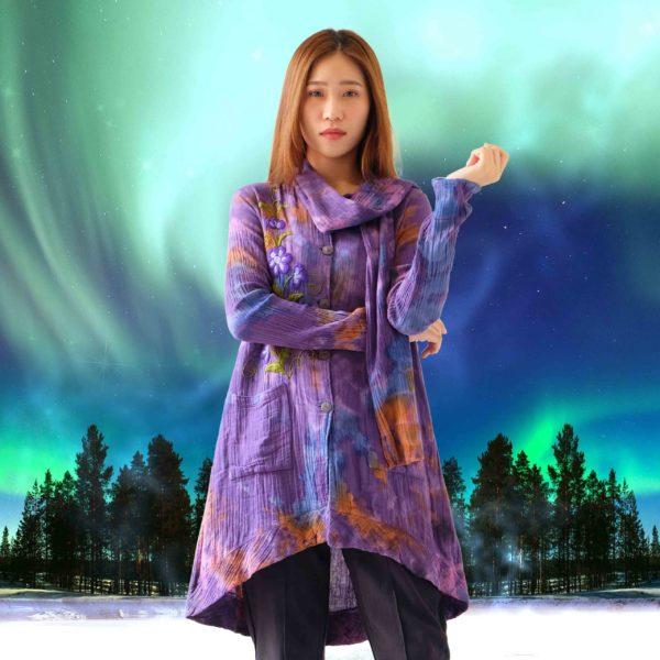 เสื้อแขนยาวมีผ้าพันคอ-arora